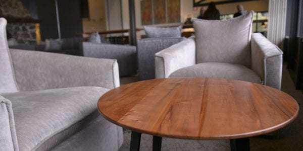 Reclaimed Tasmanian Myrtle furniture by Simon Ancher transforms Freycinet Lodge