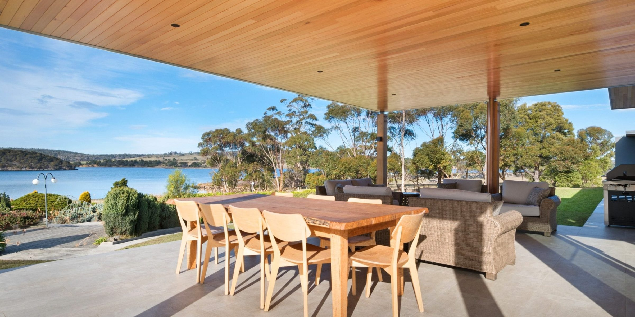 Tasmanian Oak lining over the outdoor setting.