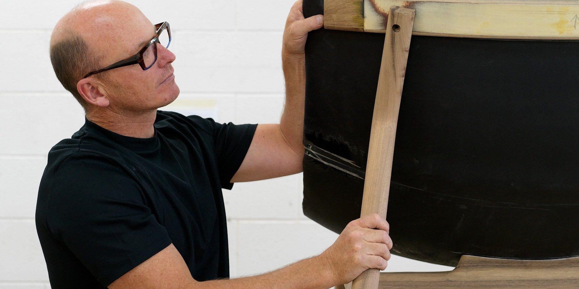 Jon Goulder working on a Settler Chair in Tasmanian Blackwood