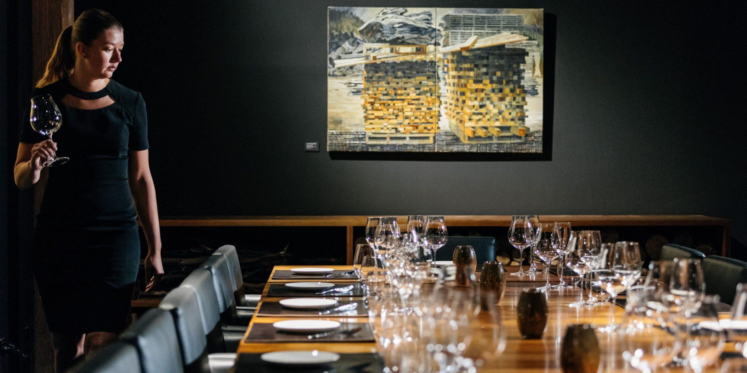 Tasmanian timber tabletop at Landscape Restaurant & Grill