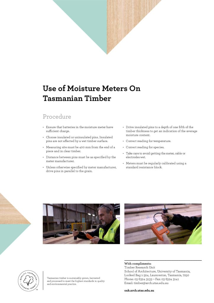 Use of Moisture Meters on Tasmanian Timber